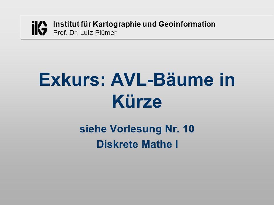 Institut für Kartographie und Geoinformation Prof. Dr. Lutz Plümer Exkurs: AVL-Bäume in Kürze siehe Vorlesung Nr. 10 Diskrete Mathe I