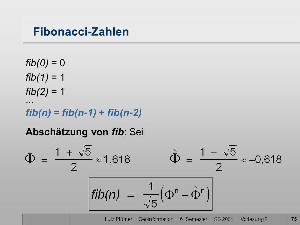Lutz Plümer - Geoinformation - 6. Semester - SS 2001 - Vorlesung 275 Fibonacci-Zahlen fib(0) = 0 fib(1) = 1 fib(2) = 1... fib(n) = fib(n-1) + fib(n-2)
