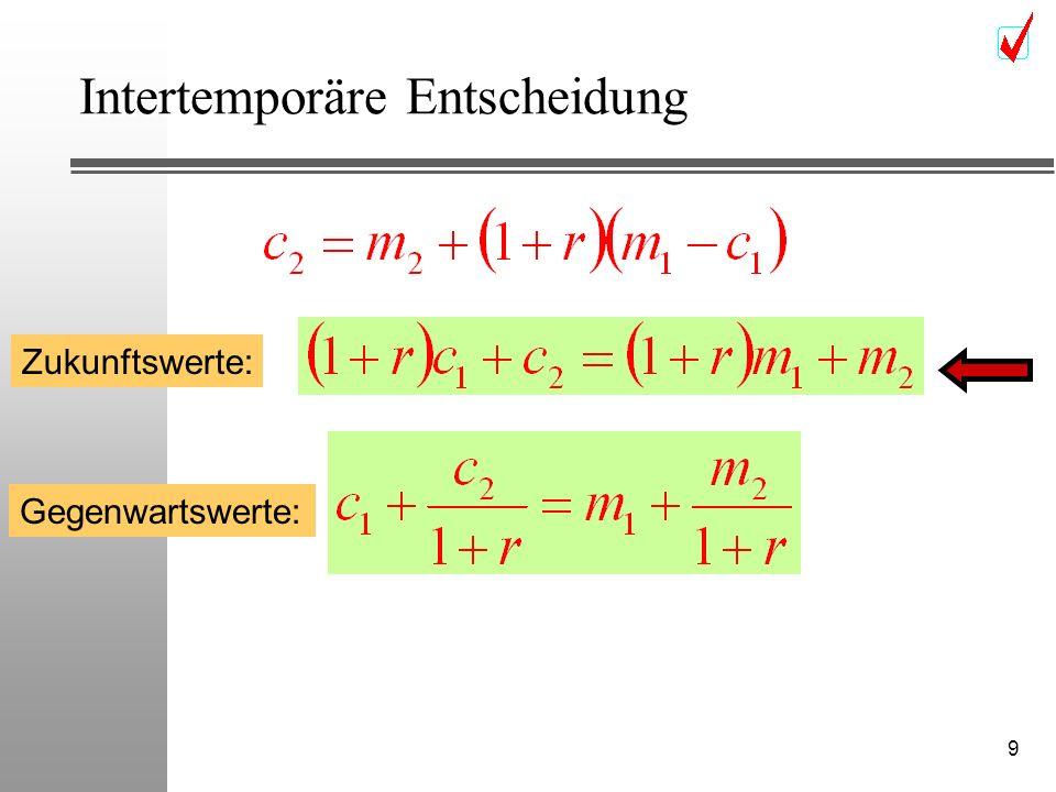 10 Intertemporäre Entscheidung (m 1,m 2 ) c2c2 c1c1 m2m2 m1m1 Zukunftswert Gegenwartswert