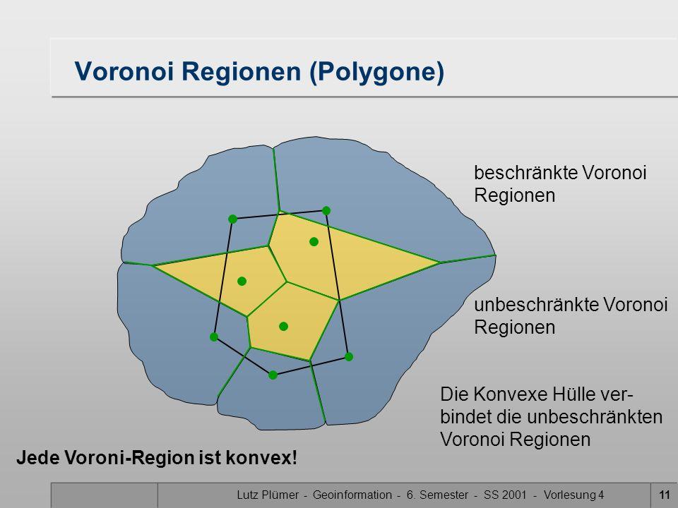 Lutz Plümer - Geoinformation - 6. Semester - SS 2001 - Vorlesung 411 Voronoi Regionen (Polygone) beschränkte Voronoi Regionen unbeschränkte Voronoi Re