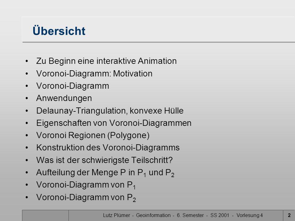 Lutz Plümer - Geoinformation - 6. Semester - SS 2001 - Vorlesung 42 Übersicht Zu Beginn eine interaktive Animation Voronoi-Diagramm: Motivation Vorono