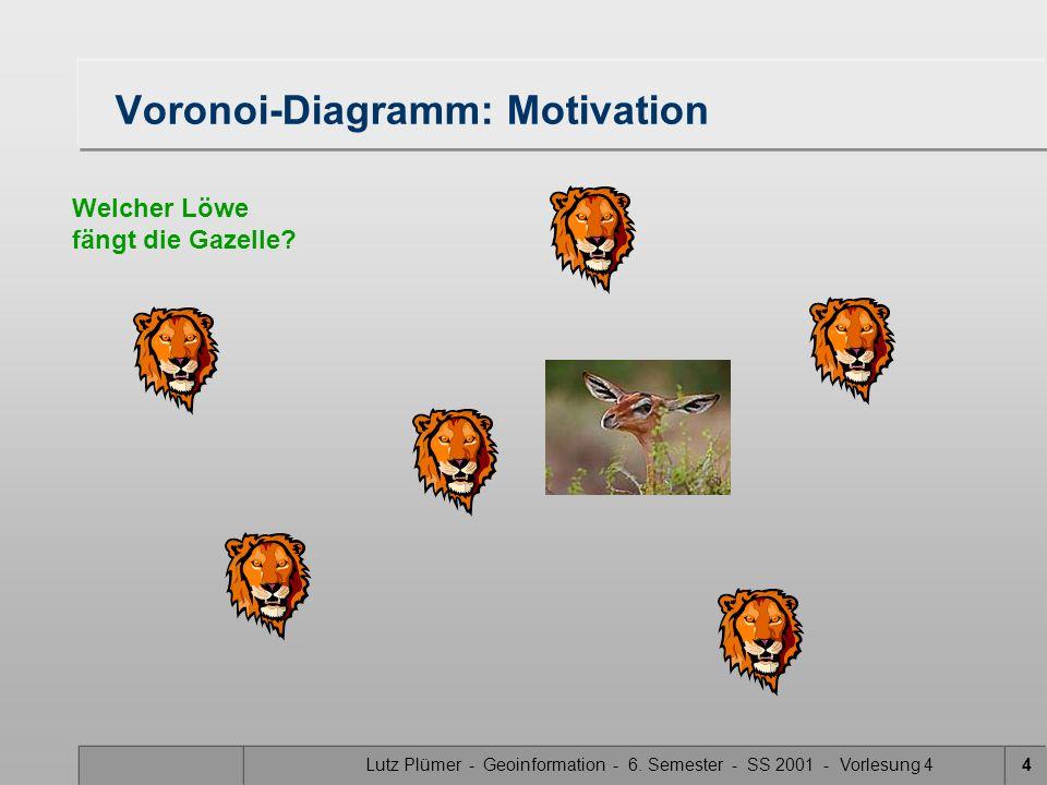 Lutz Plümer - Geoinformation - 6. Semester - SS 2001 - Vorlesung 44 Voronoi-Diagramm: Motivation Welcher Löwe fängt die Gazelle?