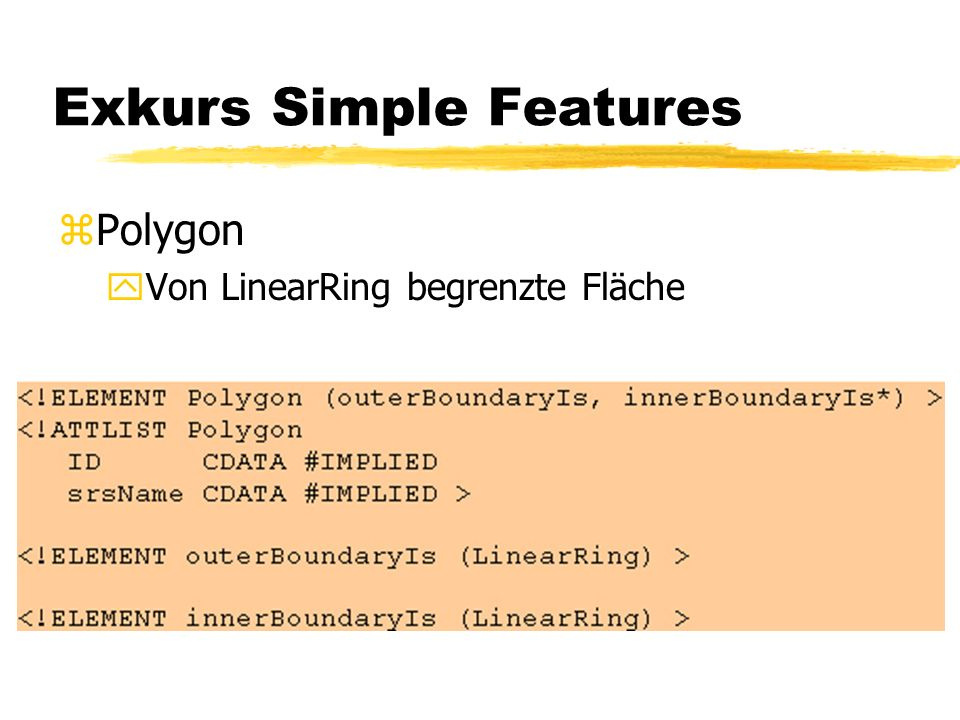 Exkurs Simple Features zPolygon yVon LinearRing begrenzte Fläche
