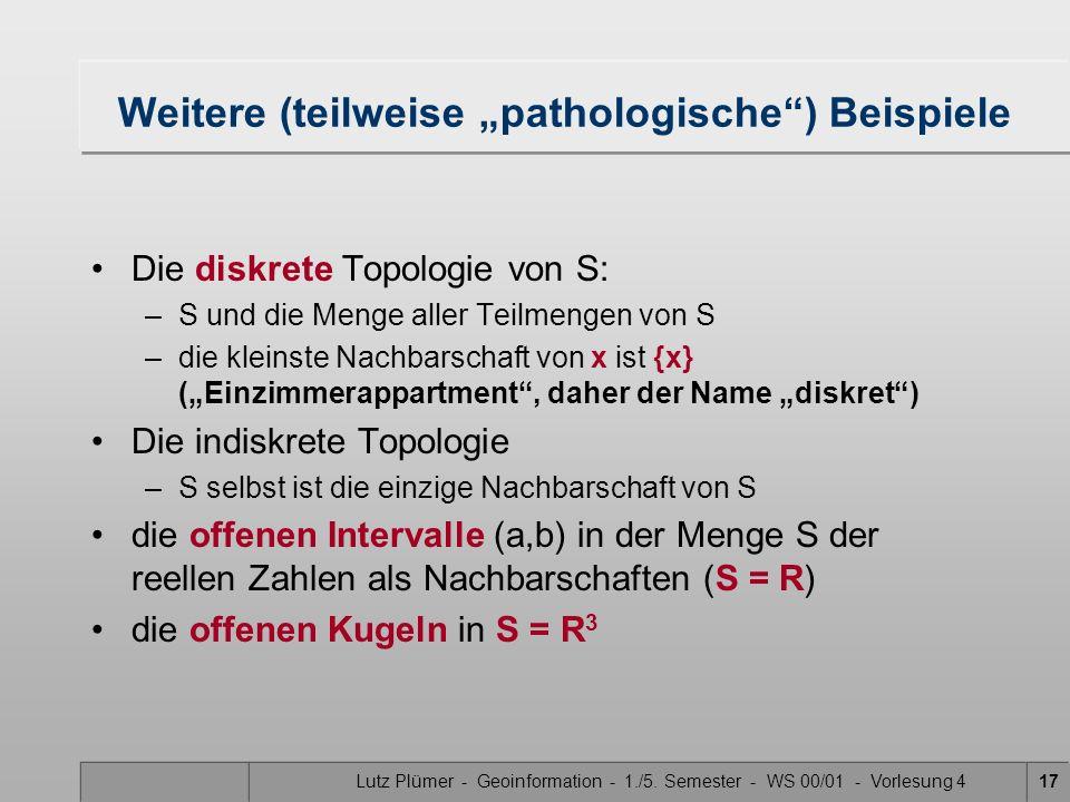 Lutz Plümer - Geoinformation - 1./5. Semester - WS 00/01 - Vorlesung 416 Beispiele Die offene Kreisscheibe in der euklidischen Ebene –Menge aller Punk