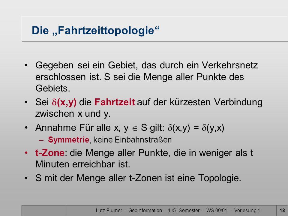 Lutz Plümer - Geoinformation - 1./5. Semester - WS 00/01 - Vorlesung 417 Weitere (teilweise pathologische) Beispiele Die diskrete Topologie von S: –S