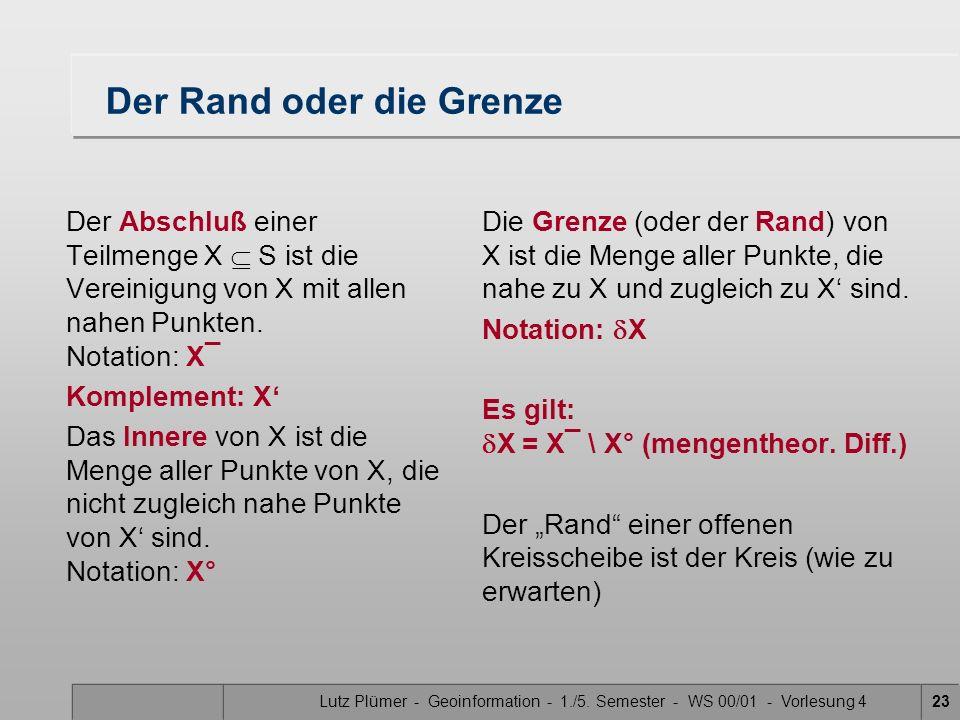 Lutz Plümer - Geoinformation - 1./5. Semester - WS 00/01 - Vorlesung 422 Nähe, Offen + Geschlossen Im folgenden stets: S sei ein topologischer Raum, X