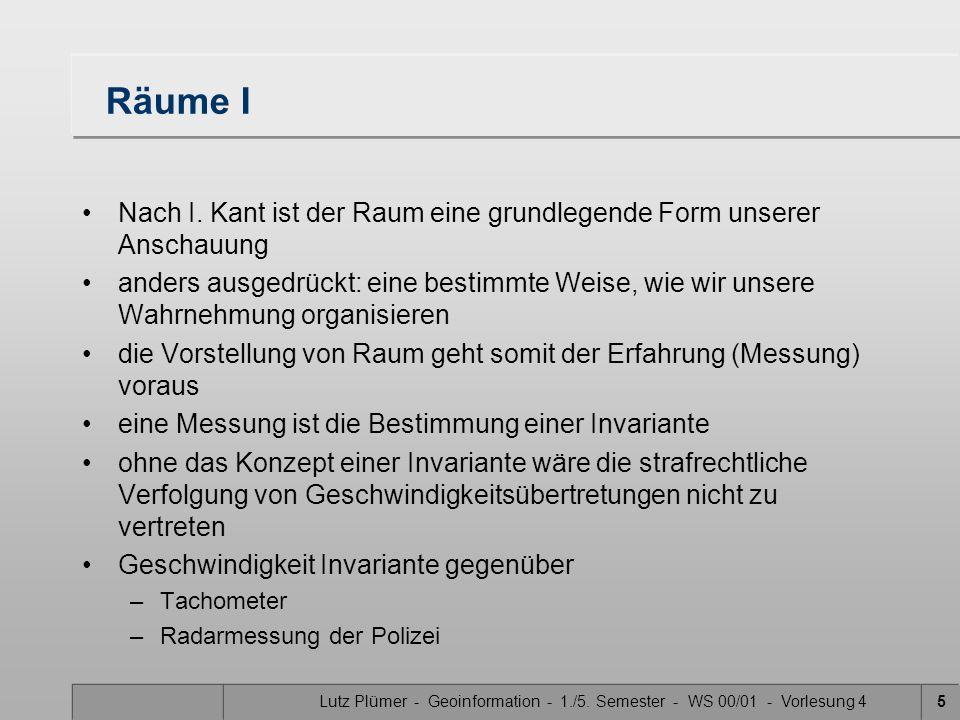 Lutz Plümer - Geoinformation - 1./5.Semester - WS 00/01 - Vorlesung 45 Räume I Nach I.