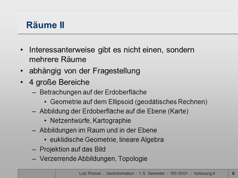 Lutz Plümer - Geoinformation - 1./5. Semester - WS 00/01 - Vorlesung 45 Räume I Nach I. Kant ist der Raum eine grundlegende Form unserer Anschauung an