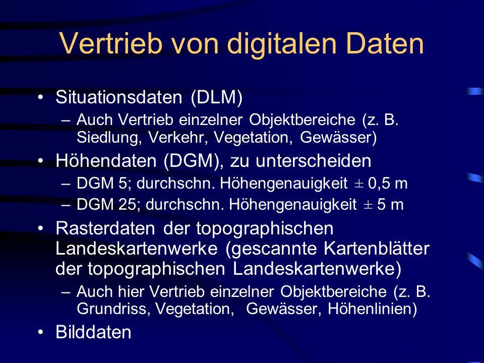 Vertrieb von digitalen Daten Situationsdaten (DLM) –Auch Vertrieb einzelner Objektbereiche (z.