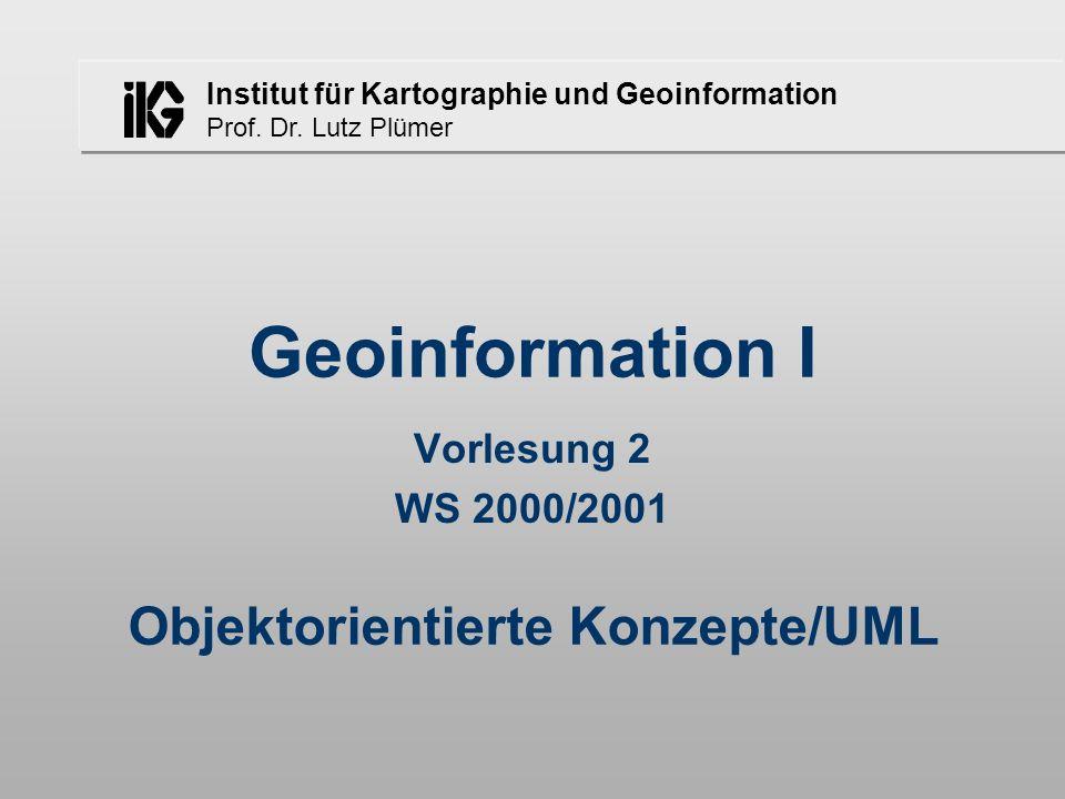 Institut für Kartographie und Geoinformation Prof. Dr. Lutz Plümer Objektorientierte Konzepte/UML Geoinformation I Vorlesung 2 WS 2000/2001