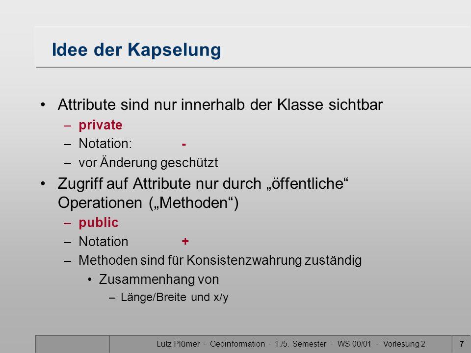 Lutz Plümer - Geoinformation - 1./5. Semester - WS 00/01 - Vorlesung 27 Idee der Kapselung Attribute sind nur innerhalb der Klasse sichtbar –private –