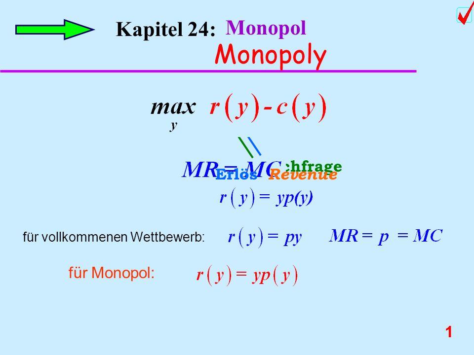 11 Kapitel 24: Monopol Monopoly Wohlfahrtsverlust durch ein Monopol Konkurenzpreis p c Monopolpreis p m C B Der Wohlfahrtsverlust aufgrund des Monopols Deadweight loss Kapitel 27