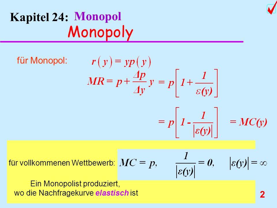2 Kapitel 24: Monopol Monopoly für Monopol: für vollkommenen Wettbewerb: Ein Monopolist produziert, wo die Nachfragekurve elastisch ist