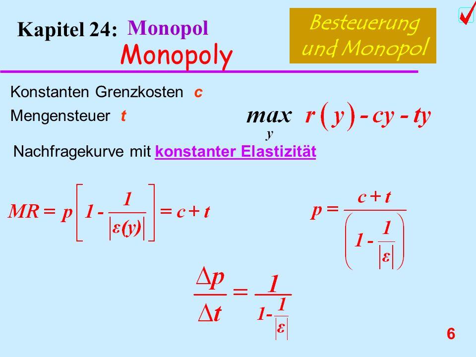 5 Kapitel 24: Monopol Monopoly Besteuerung und Monopol Konstanten Grenzkosten c Mengensteuer t Lineare Nachfrage: