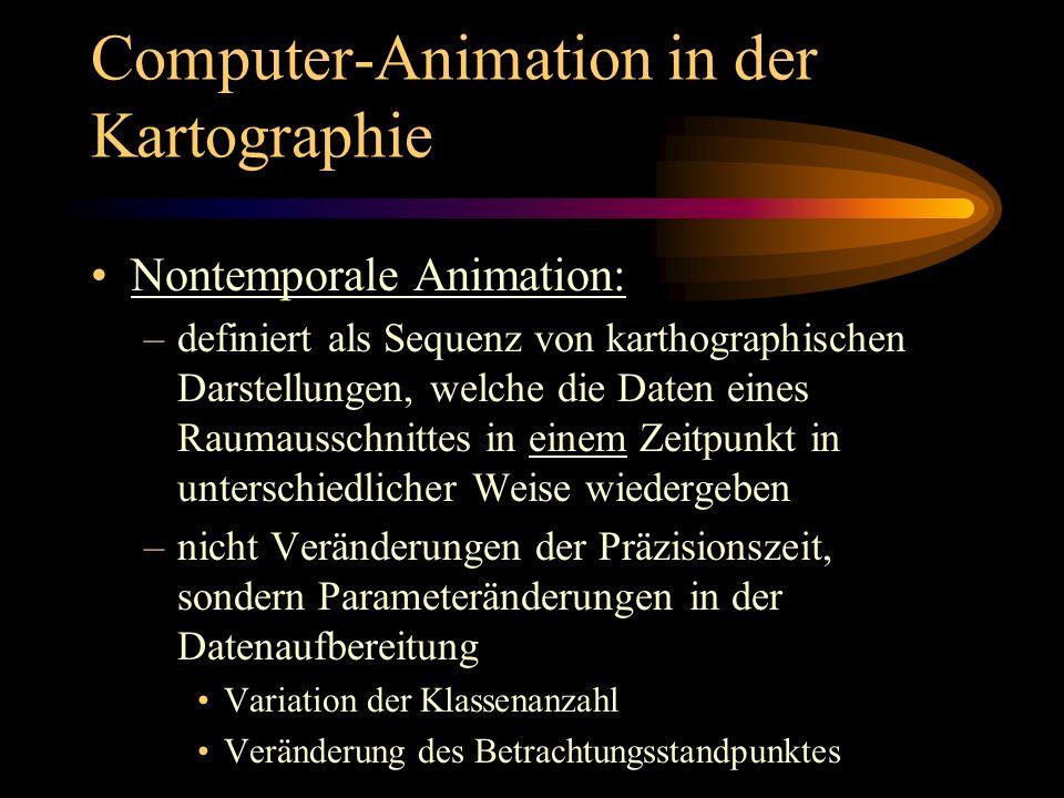 Computer-Animation in der Kartographie Nontemporale Animation: –definiert als Sequenz von karthographischen Darstellungen, welche die Daten eines Raum