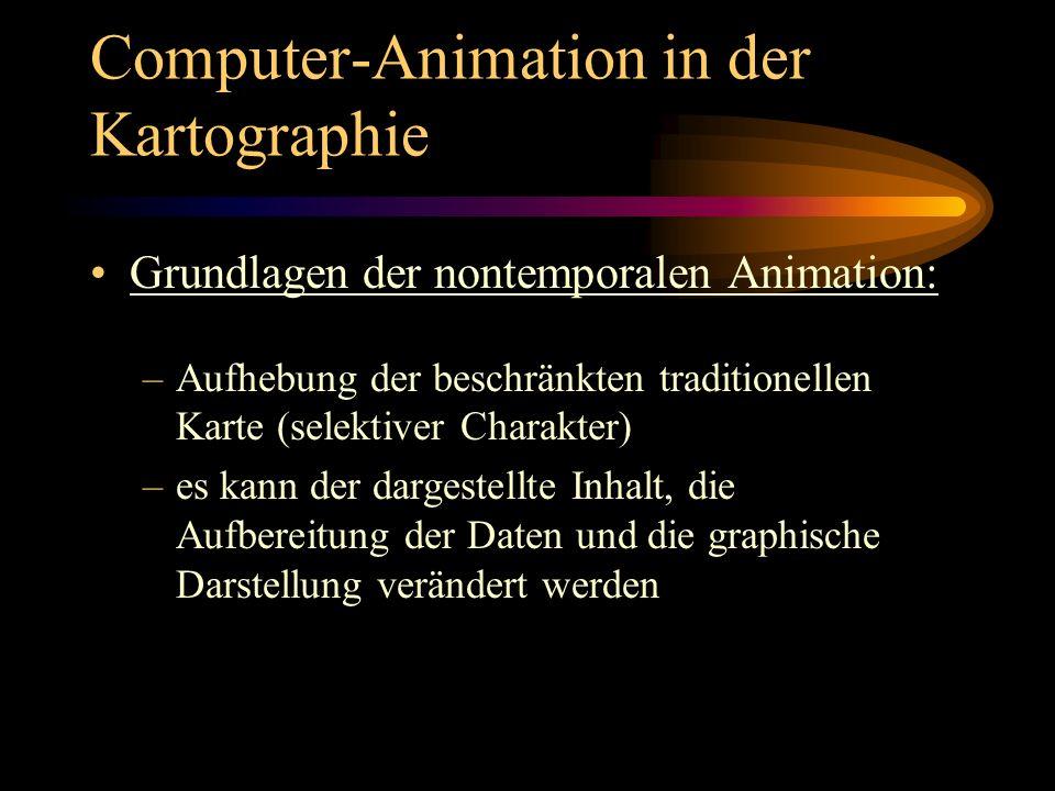 Computer-Animation in der Kartographie Grundlagen der nontemporalen Animation: –Aufhebung der beschränkten traditionellen Karte (selektiver Charakter)