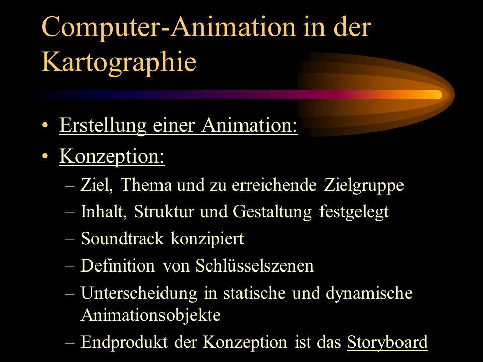 Computer-Animation in der Kartographie Erstellung einer Animation: Konzeption: –Ziel, Thema und zu erreichende Zielgruppe –Inhalt, Struktur und Gestal