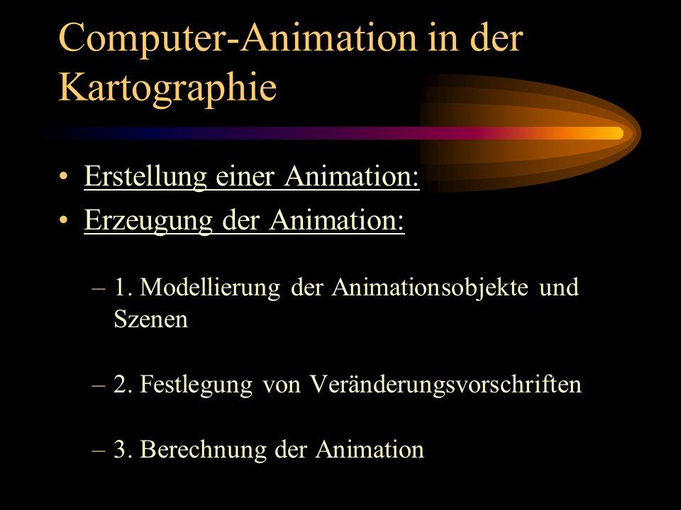 Computer-Animation in der Kartographie Erstellung einer Animation: Erzeugung der Animation: –1. Modellierung der Animationsobjekte und Szenen –2. Fest