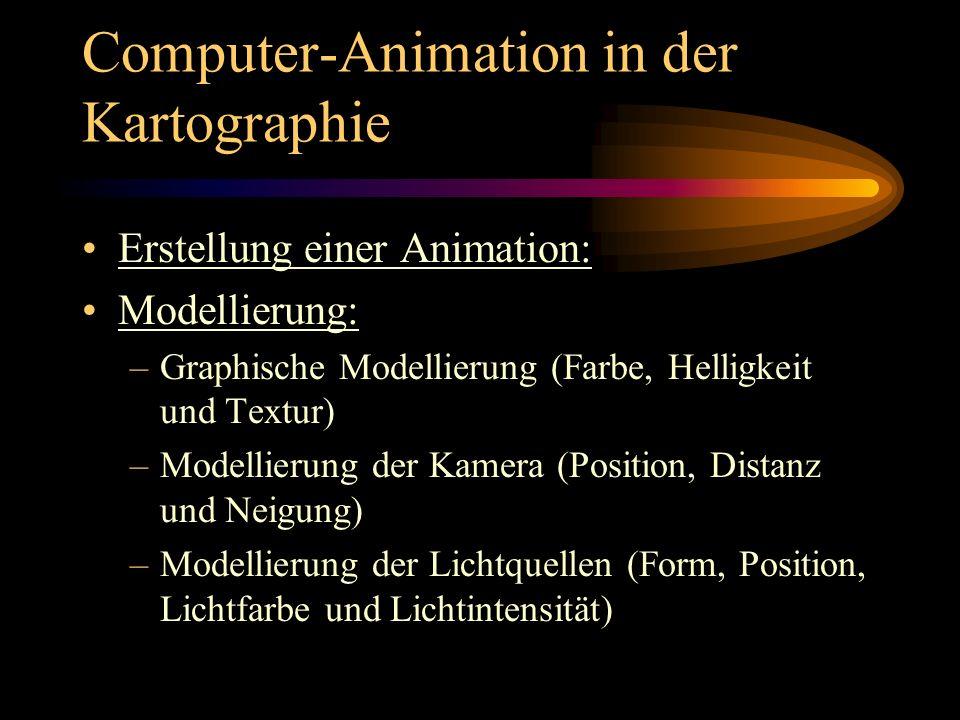 Computer-Animation in der Kartographie Erstellung einer Animation: Modellierung: –Graphische Modellierung (Farbe, Helligkeit und Textur) –Modellierung
