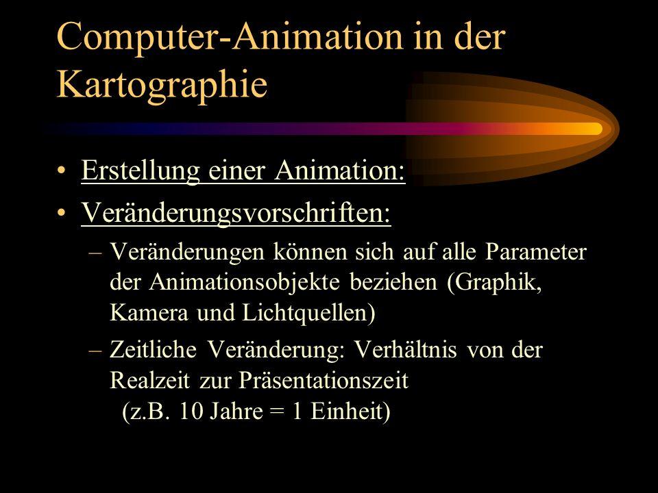 Computer-Animation in der Kartographie Erstellung einer Animation: Veränderungsvorschriften: –Veränderungen können sich auf alle Parameter der Animati