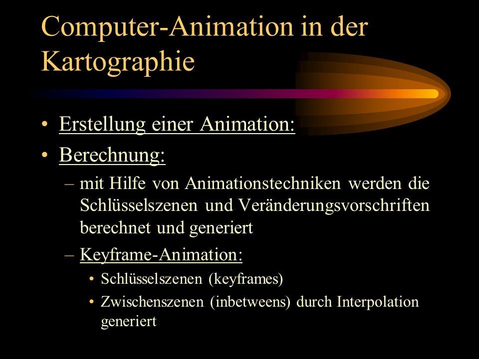 Computer-Animation in der Kartographie Erstellung einer Animation: Berechnung: –mit Hilfe von Animationstechniken werden die Schlüsselszenen und Verän