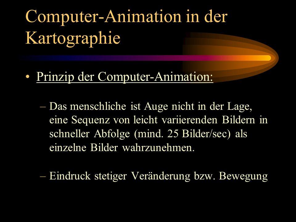 Computer-Animation in der Kartographie Ton als Mittel der Animation: –wesentliches Element um Informationen zu übermitteln –entlastet den visuellen Kanal und nutzt Hörsinn als Wahrnehmungskanal –in unterschiedlicher Weise eingesetzt: Illustration Interpretation und Kommentierung Lenkung der Wahrnehmung und Erregung von Aufmerksamkeit