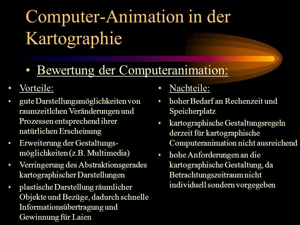 Computer-Animation in der Kartographie Bewertung der Computeranimation: Vorteile: gute Darstellungsmöglichkeiten von raumzeitlchen Veränderungen und P