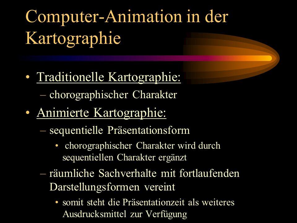 Computer-Animation in der Kartographie Anwendungsmöglichkeiten: –Durch Präsentationszeit wird bei gezielten Veränderungen von einem ins nächste Bild dem Benutzer eine bestimmte Information übermittelt –im Moment wird Präsentationszeit in der Kartographie meist zur Darstellung von Veränderungen im Raum genutzt