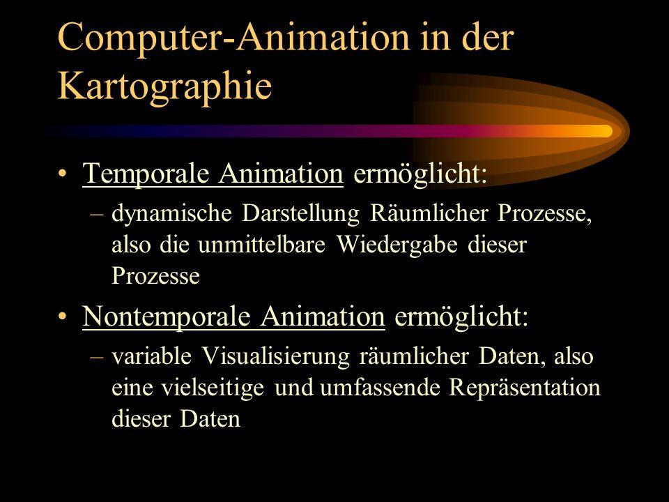 Computer-Animation in der Kartographie Aufgezeichnete Animation: –nach Berechnung und Generierung auf Datenträger gespeichert Echtzeit-Animation: –Berechnung und Betrachtung quasi zeitgleich –Einzelbild wird in 33 - 40 Millisekunden berechnet –Voraussetzung für interaktive Eingriffe (z.B.