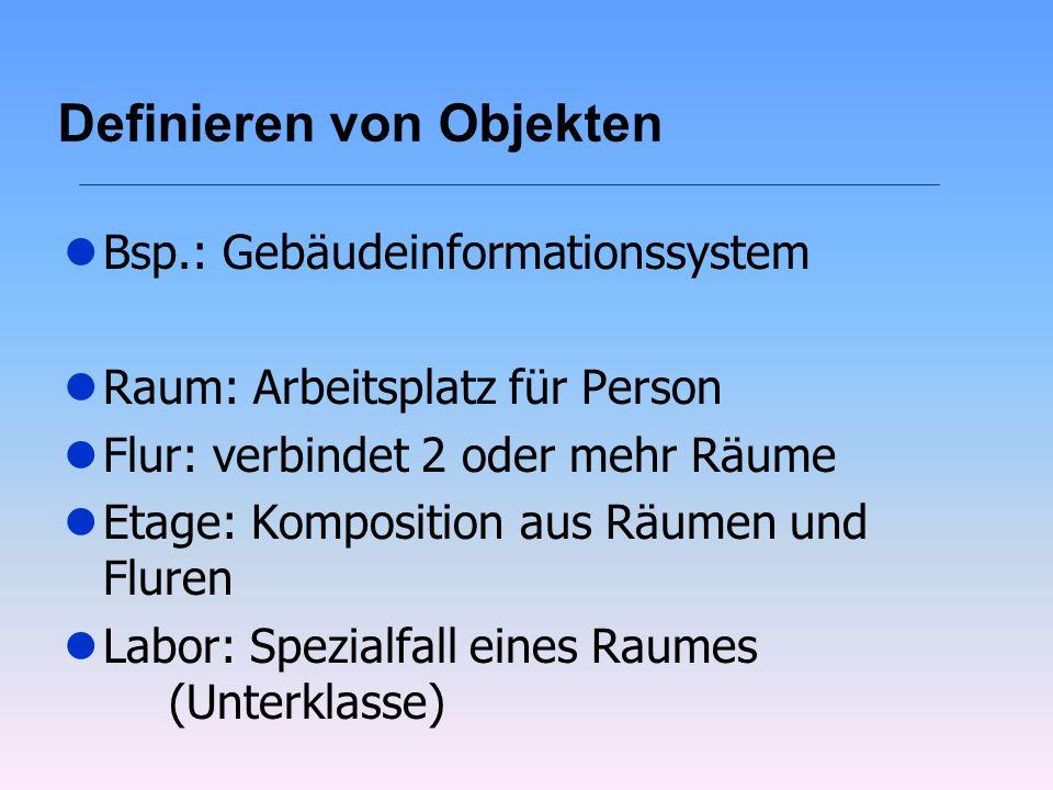 Definieren von Objekten lBsp.: Gebäudeinformationssystem lRaum: Arbeitsplatz für Person lFlur: verbindet 2 oder mehr Räume lEtage: Komposition aus Räu