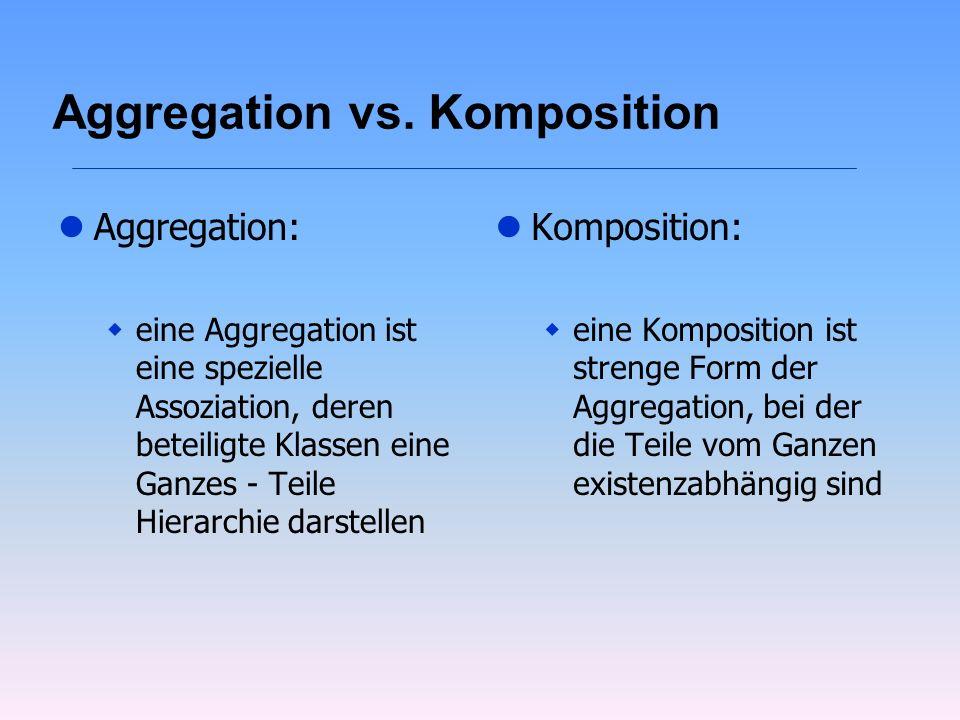 Aggregation vs. Komposition lAggregation: weine Aggregation ist eine spezielle Assoziation, deren beteiligte Klassen eine Ganzes - Teile Hierarchie da