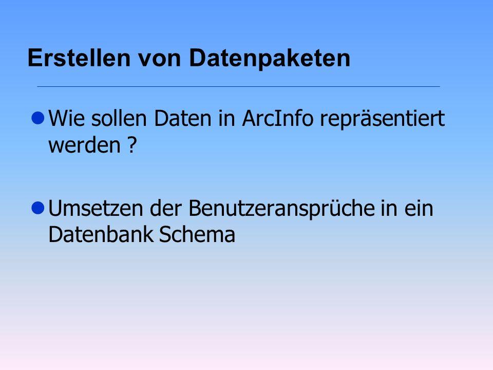 Erstellen von Datenpaketen lWie sollen Daten in ArcInfo repräsentiert werden ? lUmsetzen der Benutzeransprüche in ein Datenbank Schema