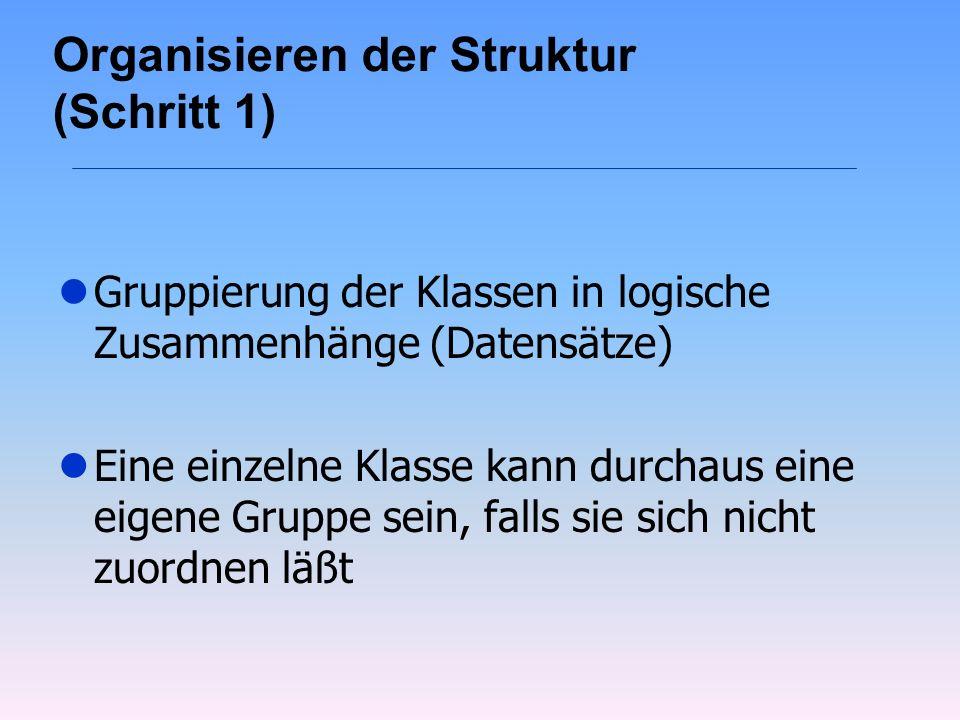 Organisieren der Struktur (Schritt 1) lGruppierung der Klassen in logische Zusammenhänge (Datensätze) lEine einzelne Klasse kann durchaus eine eigene