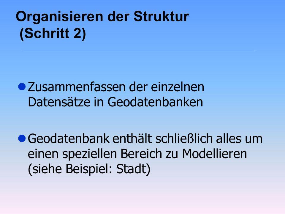 Organisieren der Struktur (Schritt 2) lZusammenfassen der einzelnen Datensätze in Geodatenbanken lGeodatenbank enthält schließlich alles um einen spez