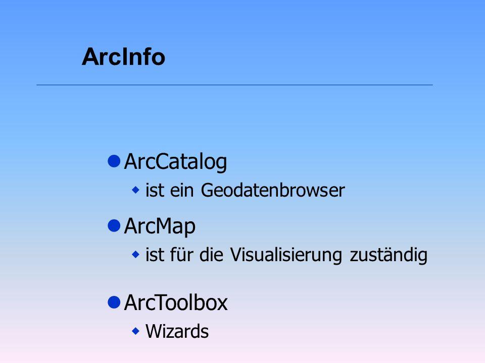 ArcInfo lArcMap wist für die Visualisierung zuständig lArcToolbox wWizards lArcCatalog wist ein Geodatenbrowser