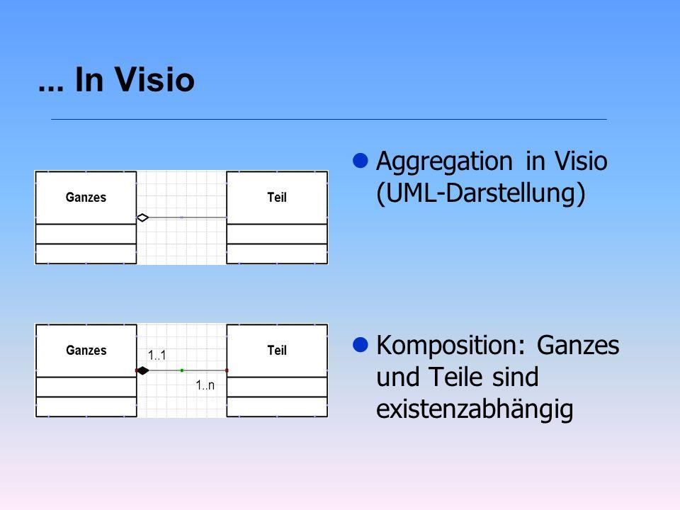... In Visio l Aggregation in Visio (UML-Darstellung) l Komposition: Ganzes und Teile sind existenzabhängig
