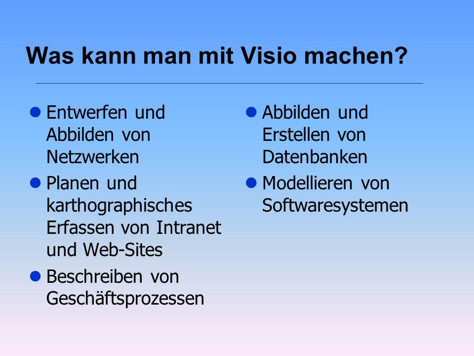 Was kann man mit Visio machen? lEntwerfen und Abbilden von Netzwerken lPlanen und karthographisches Erfassen von Intranet und Web-Sites lBeschreiben v