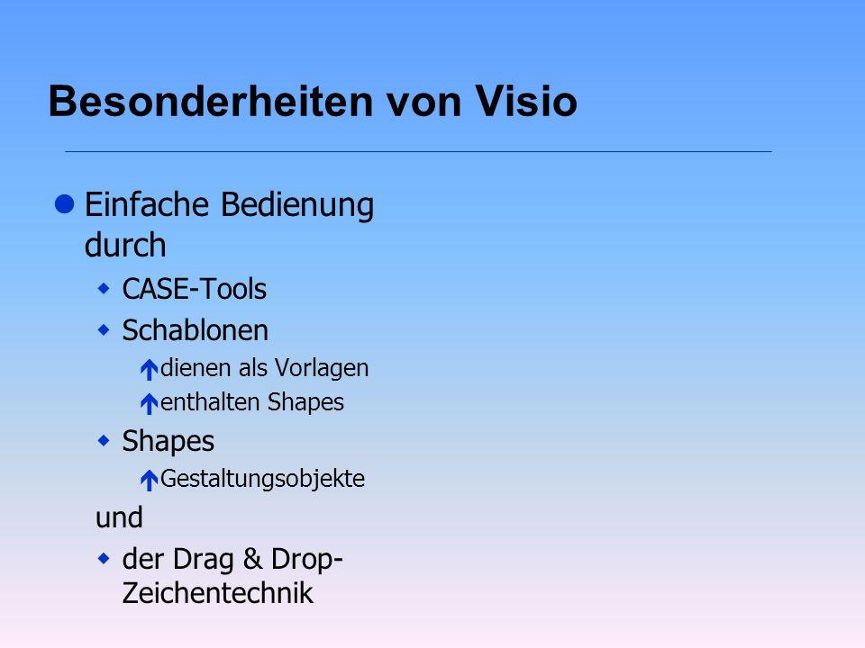 Besonderheiten von Visio lEinfache Bedienung durch wCASE-Tools wSchablonen édienen als Vorlagen éenthalten Shapes wShapes éGestaltungsobjekte und wder