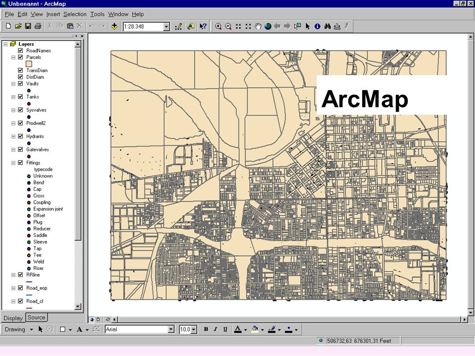 Datenmodelle Shapefiles Coverages Geodatenbasis layer, features