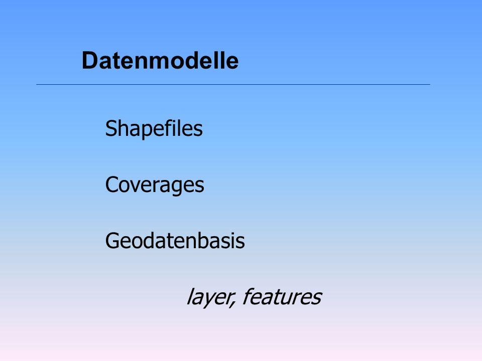 Geodatenbasis lEin Datenmodell seit der Version 8 von ArcInfo lObjektorientiertes Konzepte gebunden lGeometrie, Topologie und Sachattribute werden in Tabellen verwaltet.