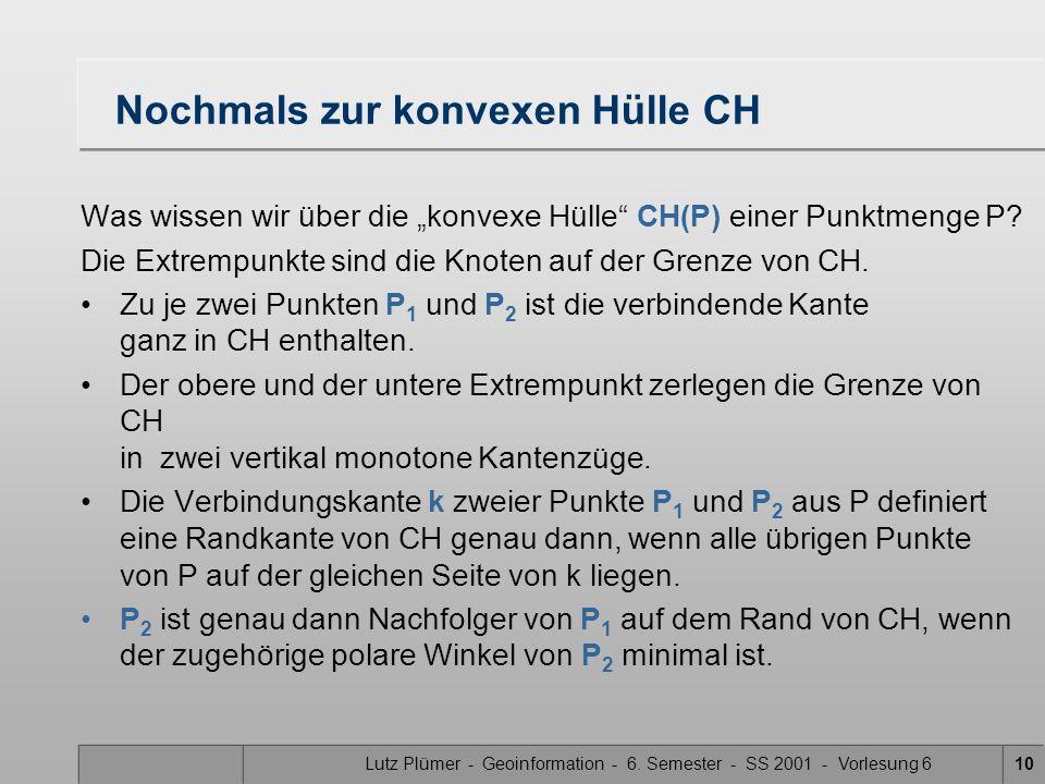 Lutz Plümer - Geoinformation - 6. Semester - SS 2001 - Vorlesung 69 Tangente von CH(P 1 ) CH(P 2 )