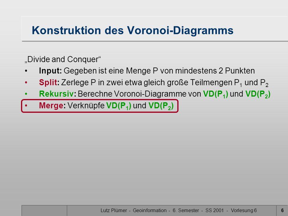 Lutz Plümer - Geoinformation - 6. Semester - SS 2001 - Vorlesung 65 Divide and Conquer: Merge