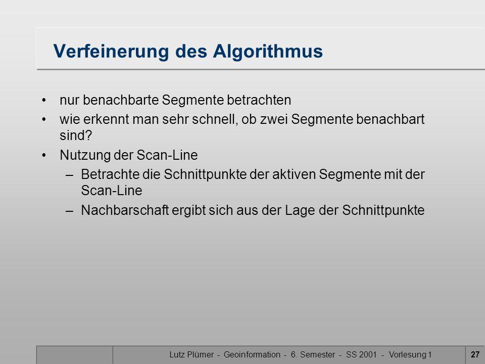 Lutz Plümer - Geoinformation - 6. Semester - SS 2001 - Vorlesung 127 Verfeinerung des Algorithmus nur benachbarte Segmente betrachten wie erkennt man