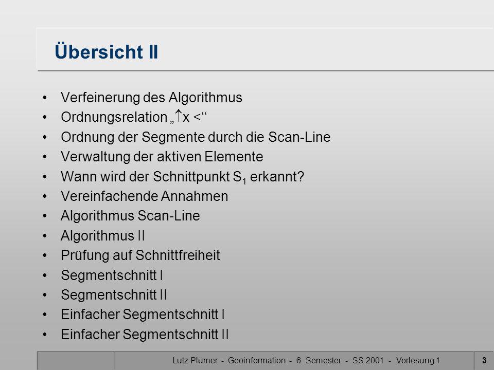 Lutz Plümer - Geoinformation - 6. Semester - SS 2001 - Vorlesung 13 Übersicht II Verfeinerung des Algorithmus Ordnungsrelation x < Ordnung der Segment