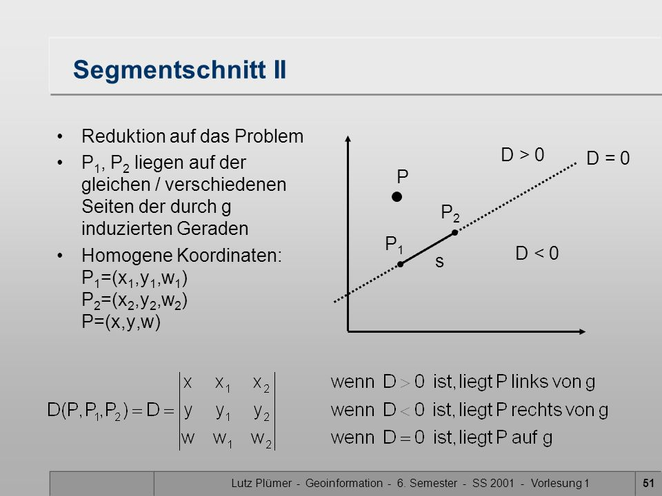 Lutz Plümer - Geoinformation - 6. Semester - SS 2001 - Vorlesung 151 Segmentschnitt II Reduktion auf das Problem P 1, P 2 liegen auf der gleichen / ve