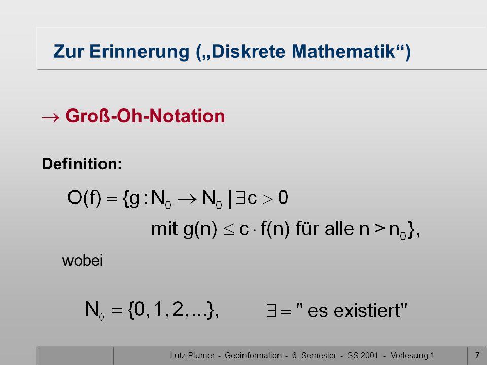 Lutz Plümer - Geoinformation - 6. Semester - SS 2001 - Vorlesung 17 Zur Erinnerung (Diskrete Mathematik) Groß-Oh-Notation Definition: wobei