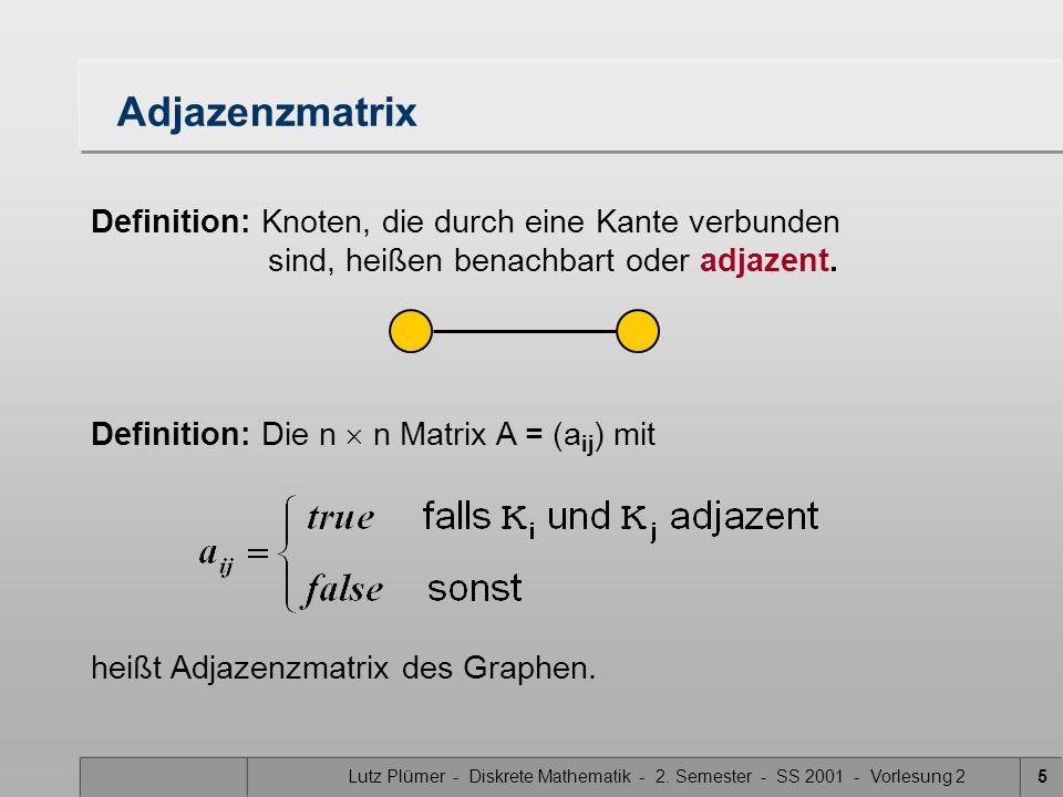 Lutz Plümer - Diskrete Mathematik - 2. Semester - SS 2001 - Vorlesung 25 Adjazenzmatrix Definition: Knoten, die durch eine Kante verbunden sind, heiße