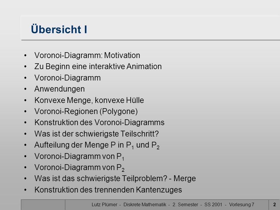 Institut für Kartographie und Geoinformation Prof. Dr. Lutz Plümer Diskrete Mathematik II Vorlesung 7 SS 2001 Voronoi-Diagramme, Konstruktion der Voro