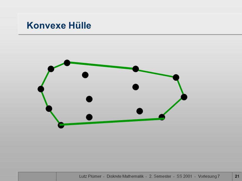 Lutz Plümer - Diskrete Mathematik - 2. Semester - SS 2001 - Vorlesung 720 Tangente – konvexe Hülle