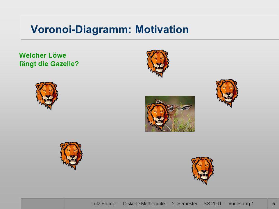Lutz Plümer - Diskrete Mathematik - 2. Semester - SS 2001 - Vorlesung 74 Voronoi-Diagramm: Motivation Welcher Löwe fängt die Gazelle?